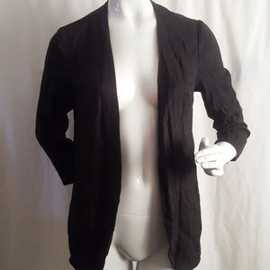 Harlowe & Graham Black Open Front Tencel Jacket L